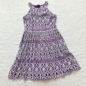Altard state purple lace halter mini dress sz m p
